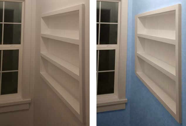 Built in the wall shelving reclaiming hidden storage for Built in bedroom storage ideas