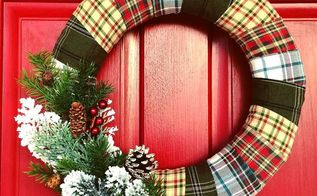 flannel wrapped winter holiday wreath, christmas decorations, crafts, repurposing upcycling, seasonal holiday decor, wreaths