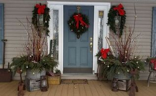 how i dressed up my front porch for christmas and the winter season, christmas decorations, porches, seasonal holiday decor, Front porch 2014