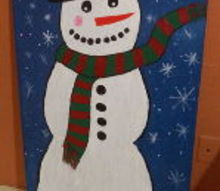 painted snowman, crafts, seasonal holiday decor