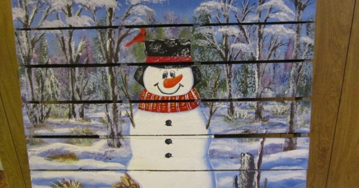 Pallet wood snowman in the woods hometalk for How to make a wood pallet snowman