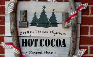 christmas reclaimed wood hot cocoa sign, christmas decorations, crafts