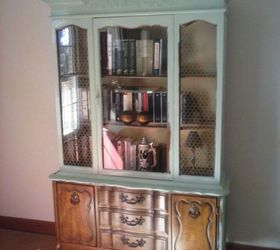 before and after of china cabinet, painted furniture, repurposing upcycling