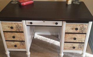 cute vintage desk makeover, painted furniture