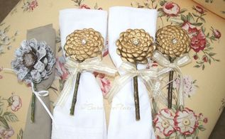 pinecone flower napkin rings, crafts, repurposing upcycling
