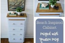 beach inspired cabinet, painted furniture