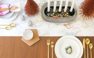 faux marble table runner, christmas decorations, dining room ideas, seasonal holiday decor