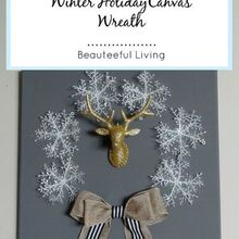 winter holiday canvas wreath diy, christmas decorations, crafts, how to, seasonal holiday decor, wreaths