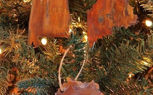 diy faux rusted metal state ornaments from a cereal box, christmas decorations, crafts, seasonal holiday decor