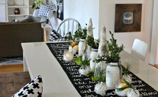 black and white christmas song lyric table runner, christmas decorations, dining room ideas, seasonal holiday decor