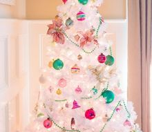 preppy pink green christmas tree with vintage shiny brite ornaments, christmas decorations, seasonal holiday decor