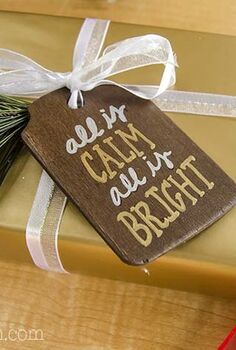 rustic stained wood holiday gift tags, christmas decorations, crafts, seasonal holiday decor