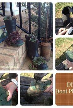 make your own boot planter, container gardening, gardening