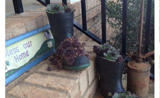 make your own boot planter, container gardening, gardening