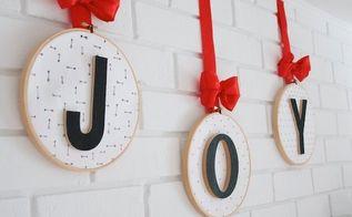 joy embroidery hoop ornaments christmas mantel, christmas decorations, crafts, fireplaces mantels, seasonal holiday decor