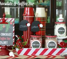 hot chocolate coffee bar, christmas decorations, seasonal holiday decor