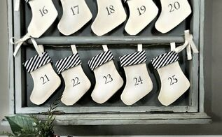 vintage advent calendar an upcycled drying rack homeforchristmas, chalkboard paint, christmas decorations, crafts, how to, seasonal holiday decor