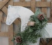 holiday wood rocking horse re do idea, christmas decorations, seasonal holiday decor