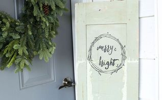 merry bright christmas door, christmas decorations, repurposing upcycling, seasonal holiday decor