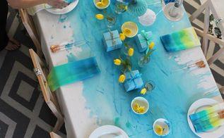 christmas table linen diy watercolour table cloth, christmas decorations, how to, seasonal holiday decor, reupholster