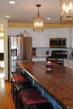 kitchen remodel farm table island, home improvement, kitchen design