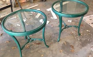 tables thrift store find, painted furniture, Ugly Green Tables can be transformed