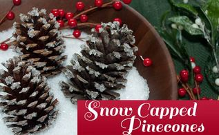 diy snow capped pinecones, christmas decorations, crafts, seasonal holiday decor