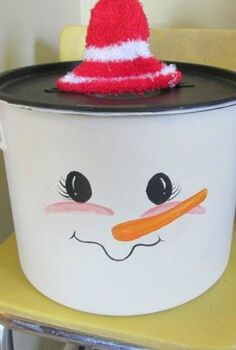 s 15 insanely cute snowmen for every corner of your home, home decor, Painted Pot Man