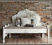 headboard to bench, outdoor furniture, painted furniture, repurposing upcycling