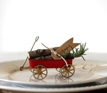 miniature vintage wagon place card, christmas decorations, seasonal holiday decor