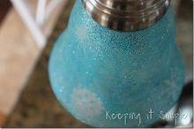 diy holiday turquoise lights with glitter and snowflakes diy, crafts
