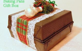 repurposed baking pans gift box, christmas decorations, repurposing upcycling, seasonal holiday decor