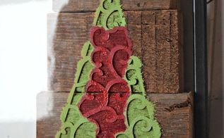 stenciled woodblock christmas tree, christmas decorations, craft rooms, seasonal holiday decor