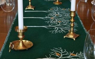 christmas stenciled birch tree runner, christmas decorations, seasonal holiday decor