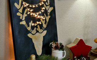 holiday stenciled reindeer wall art with lights, christmas decorations, crafts, seasonal holiday decor, wall decor