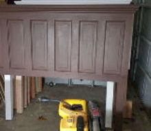 door converted into headboard, diy, doors, painted furniture, woodworking projects