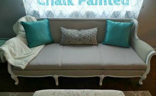 transformed a yard sale sofa with chalk paint, chalk paint, painted furniture