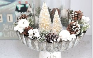 christmas centerpiece diy pie tin and bottle brush tree, christmas decorations, crafts, repurposing upcycling, seasonal holiday decor