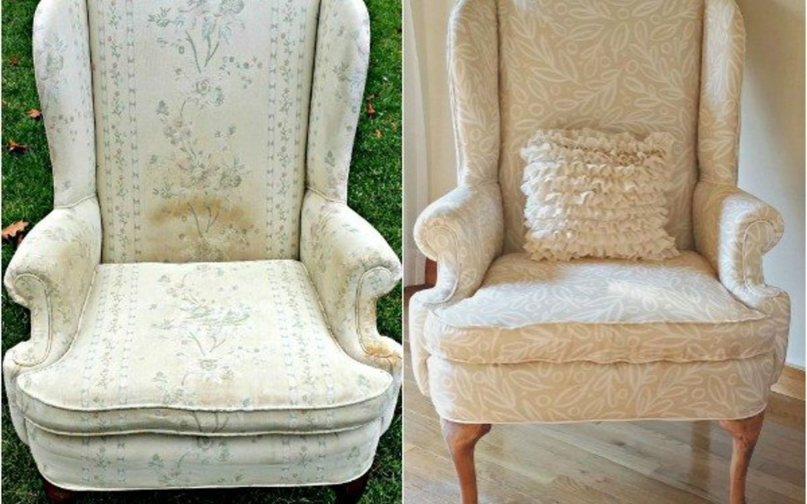 s 14 shocking furniture transformations using fabric, painted furniture, reupholster, Her Wingback Chair Is As Sweet As Angel Song