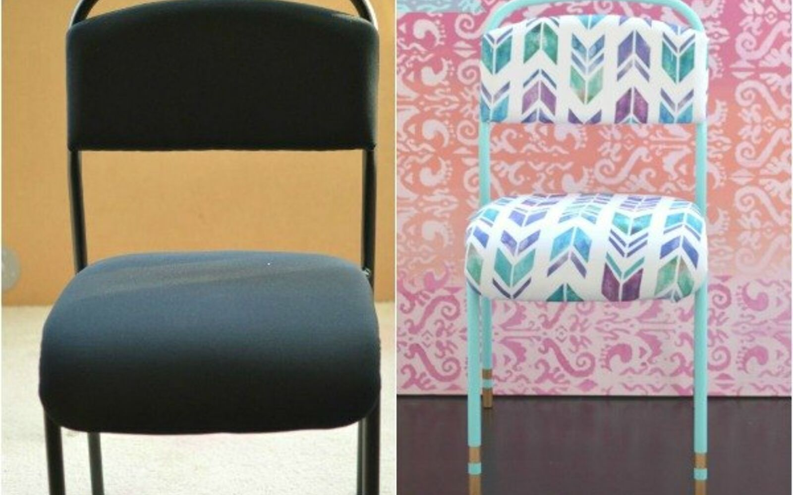 s 14 shocking furniture transformations using fabric, painted furniture, reupholster, It Was All Business Til She Made It Pop