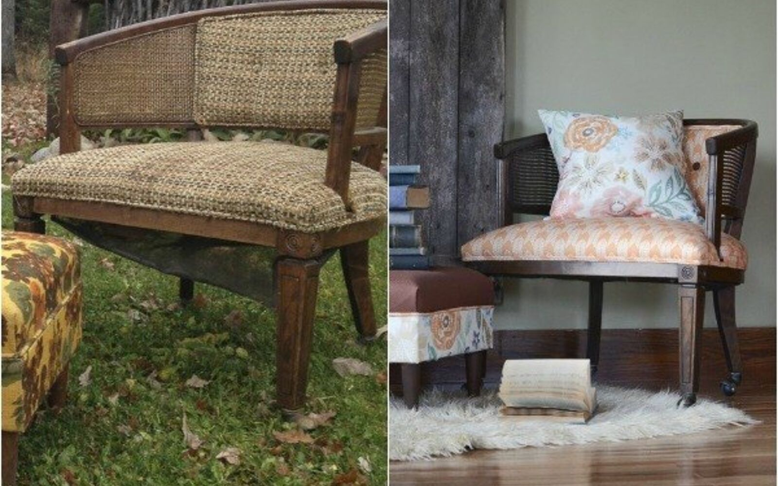 s 14 shocking furniture transformations using fabric, painted furniture, reupholster, From Dull Dreary to Bright Wonderful