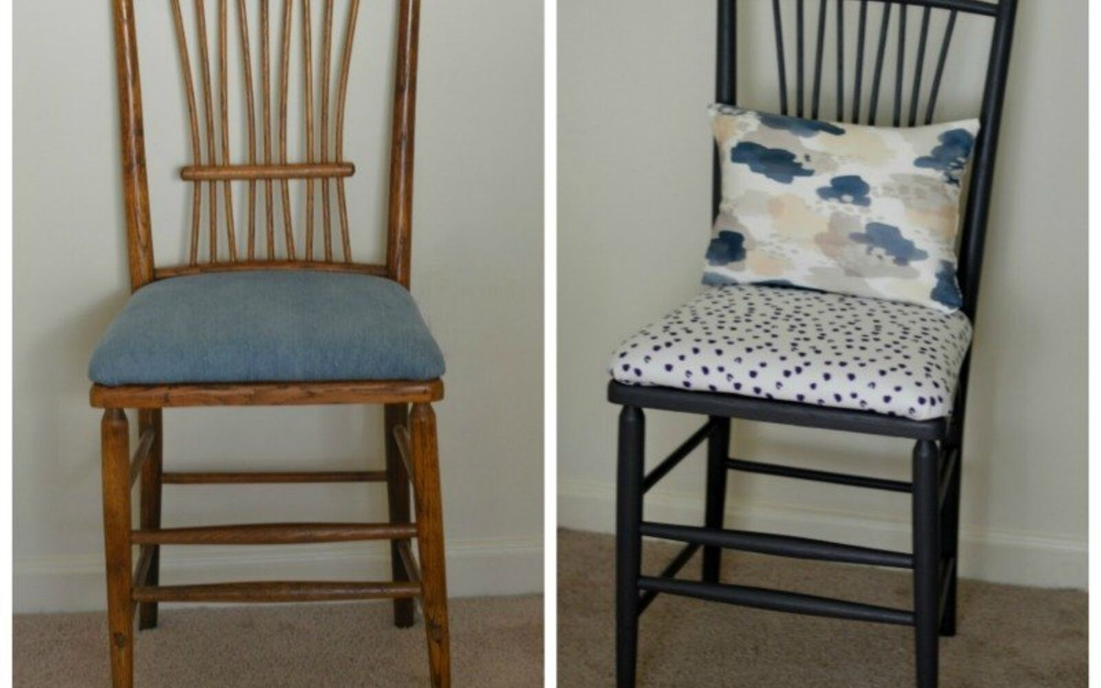 s 14 shocking furniture transformations using fabric, painted furniture, reupholster, She Gave This a Burst of Contrast