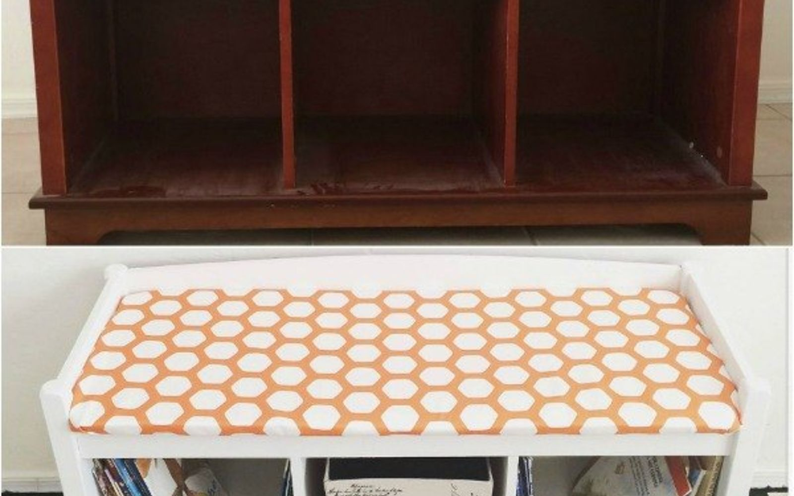 s 14 shocking furniture transformations using fabric, painted furniture, reupholster, Clunky Brown Bench Gets a Magnificent Redo