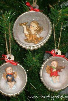christmas ornaments vintage measuring cup shadow box, christmas decorations, crafts, decoupage, repurposing upcycling, seasonal holiday decor