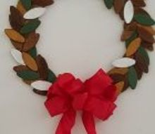 christmas wreath made from wood biscuits found in the tool department, christmas decorations, crafts, seasonal holiday decor, wreaths