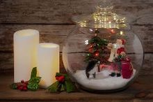 miniature christmas jar scene, christmas decorations, seasonal holiday decor
