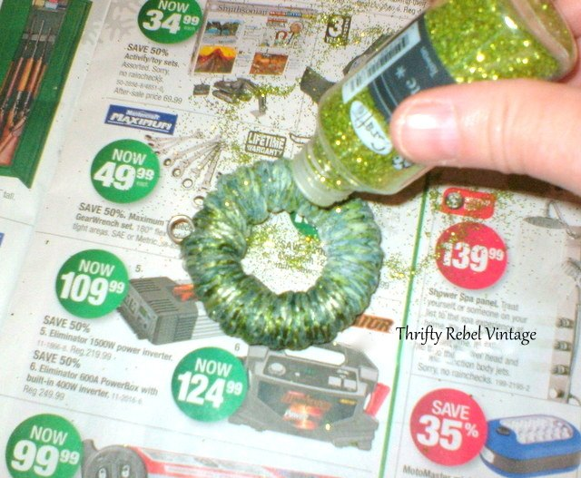 Christmas Decorations Using Curtain Rings : Curtain ring wreath ornaments hometalk