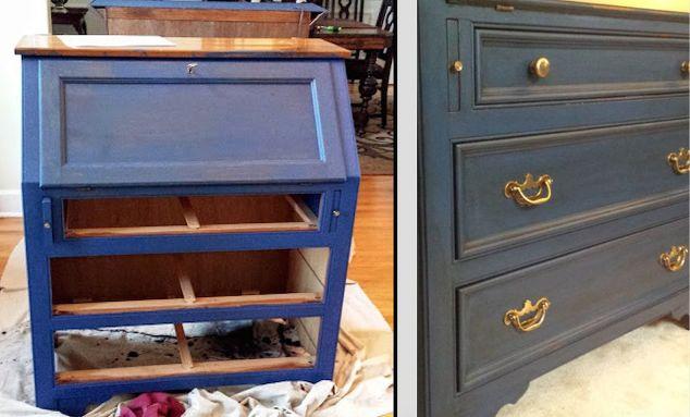 diy secretary makeover with napoleonic blue chalk paint