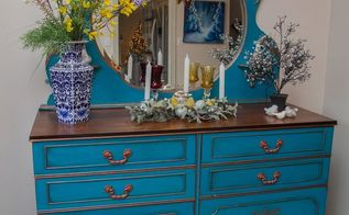 painted teal blue mirror furniture dresser, painted furniture