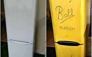 diy painted fridge, appliances, painted furniture